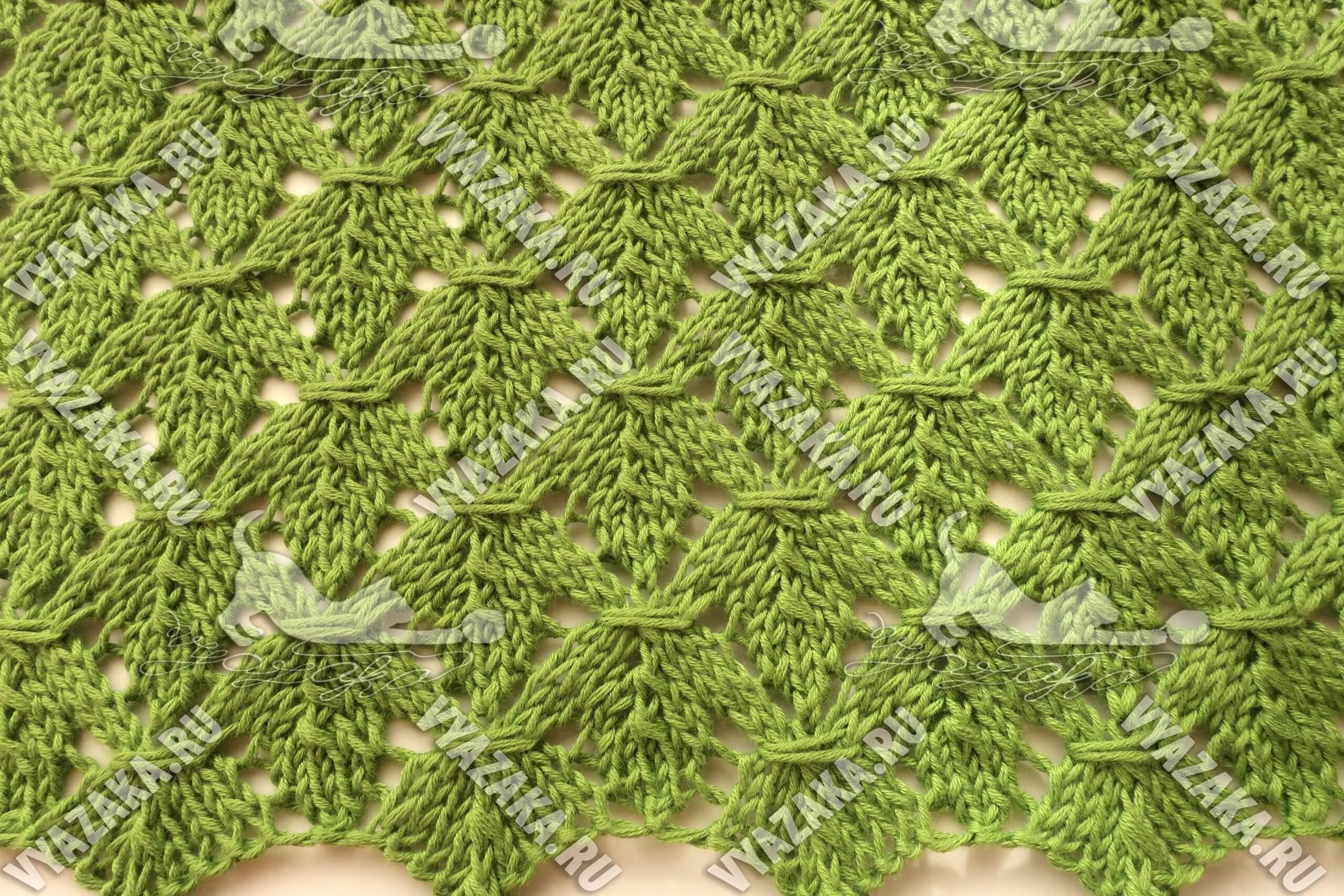 Узор «Кленовый лист» | Вязание спицами и крючком
